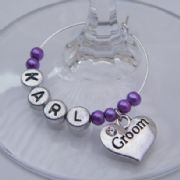 Groom Personalised Wine Glass Charm